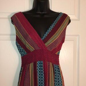 Double V-neck Printed Maxi Dress